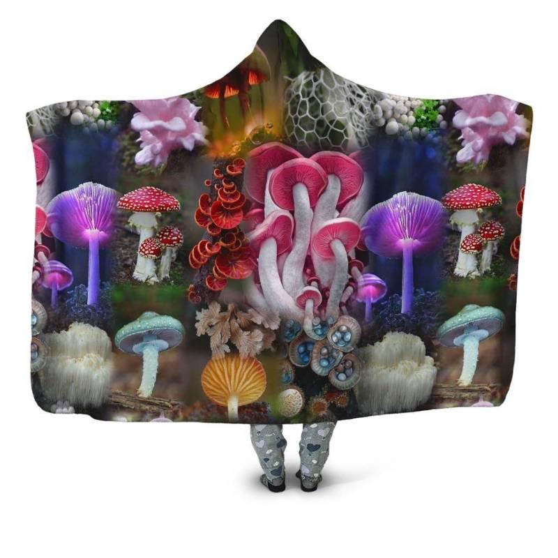 Beautiful Forest Mushroom Hooded Blanket 3912