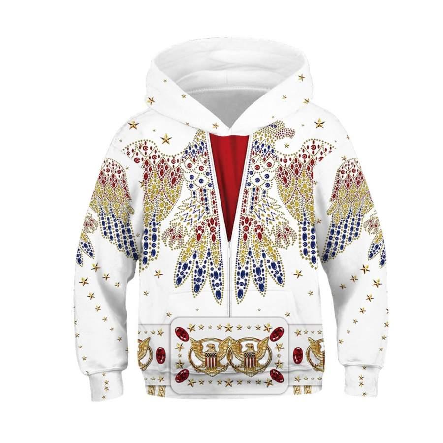 3D Elvis presley suit Kids Full-Print Hoodie
