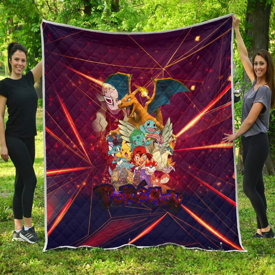 Ash Movie Poster Pokemon Premium Quilt Blanket