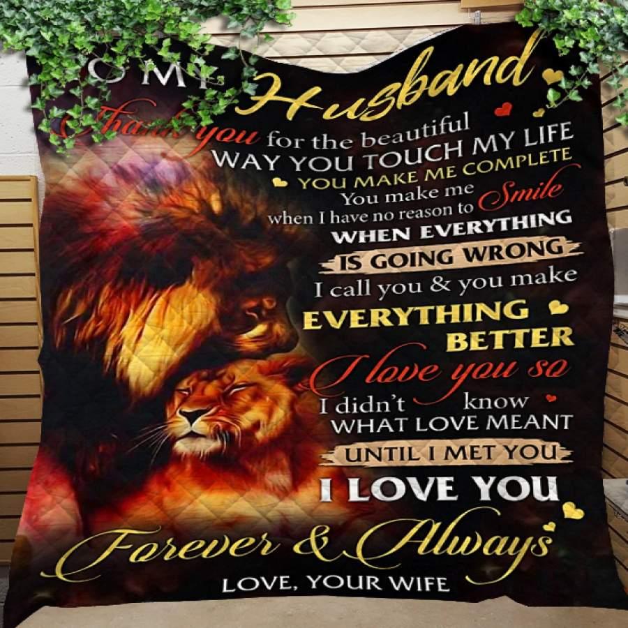 CUSTOM BLANKET TO MY HUSBAND LION BLANKET - GIFT FOR HUSBAND - QUILT BLANKET