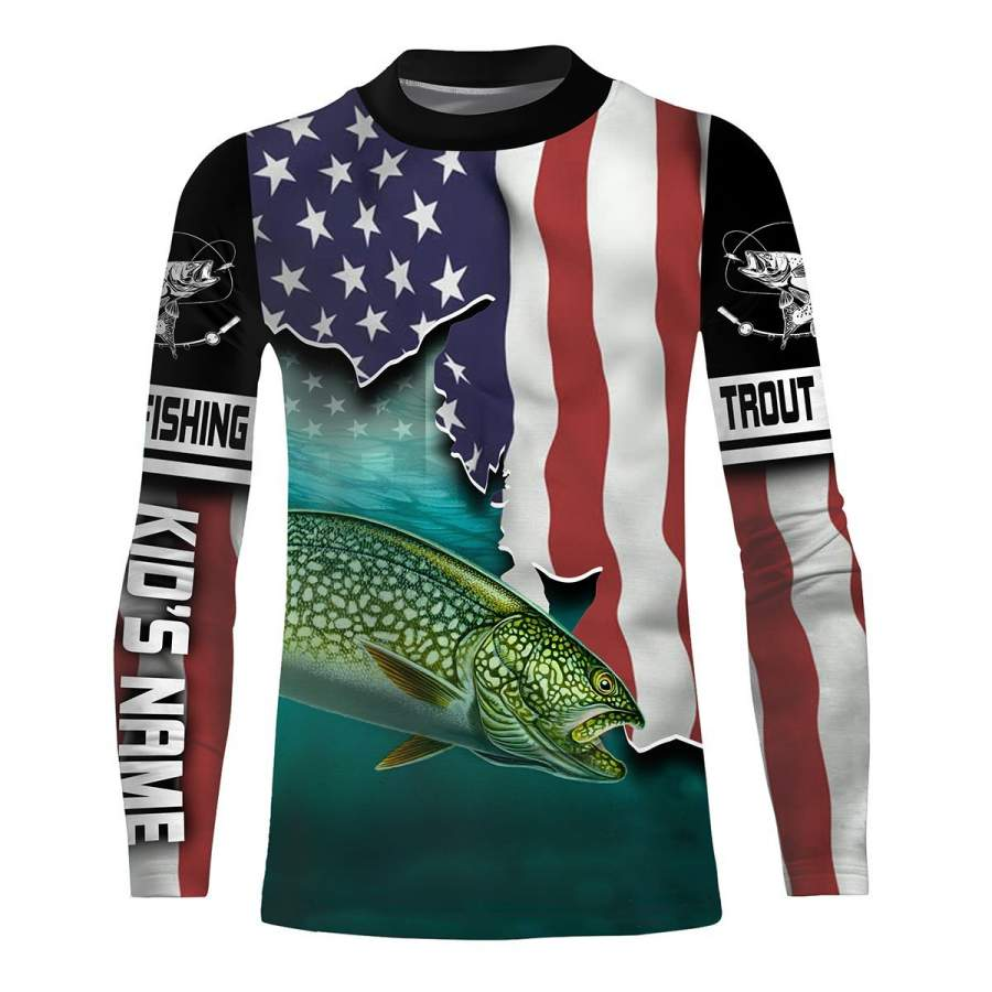 Download Lake Trout Fishing American Flag Customize Name 3d All ...