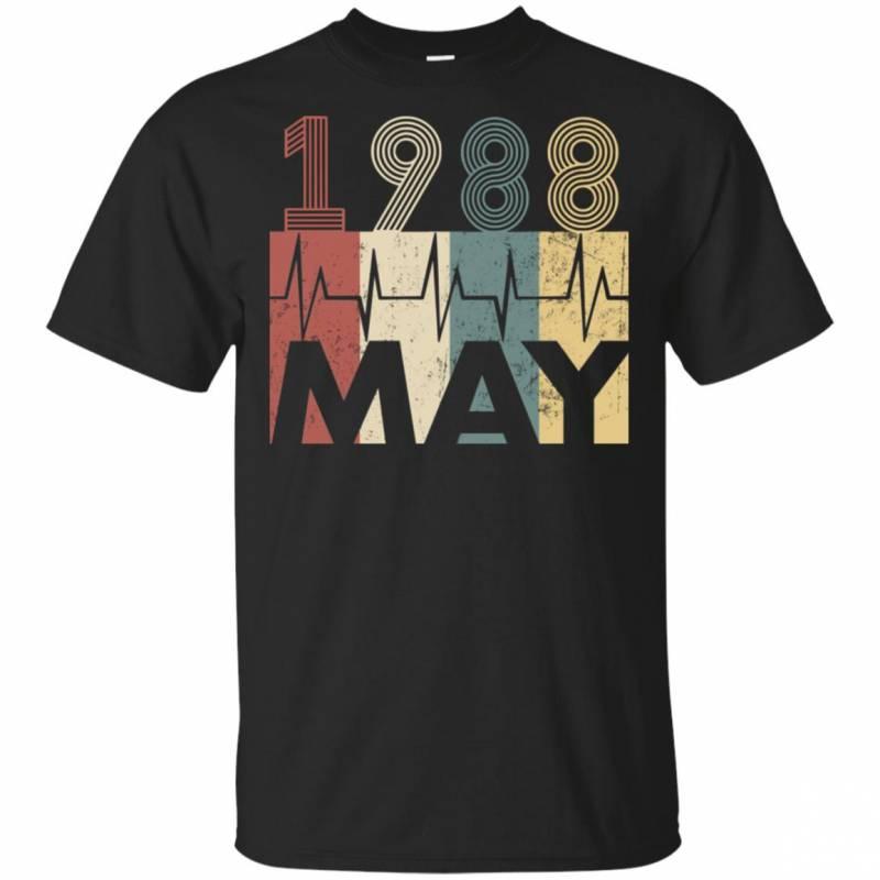 Vintage Heartbeat May 1988 Birthday Gift Men Women T Shirt Mn03