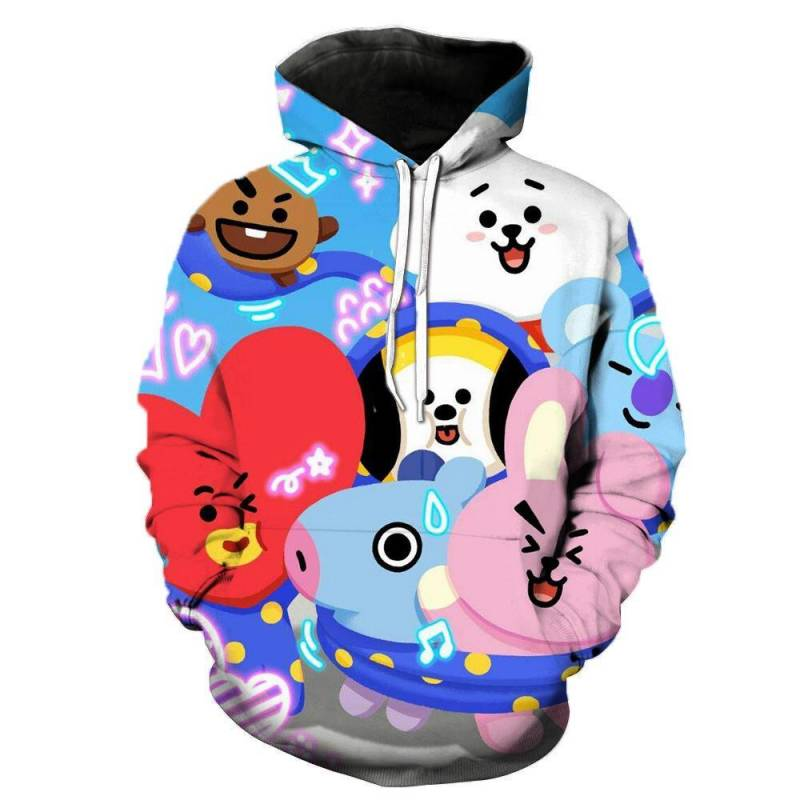 2019 Kids BTS BT21 Pullover Hoodie Sweatshirt Dec Series Crowd