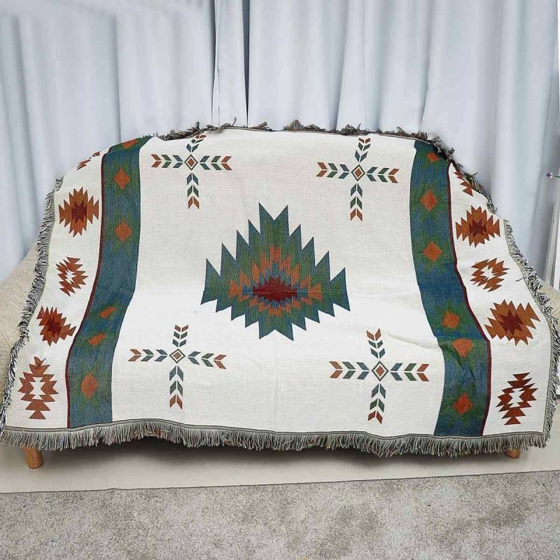 Native American Geometric Tribal Ethnic Blanket