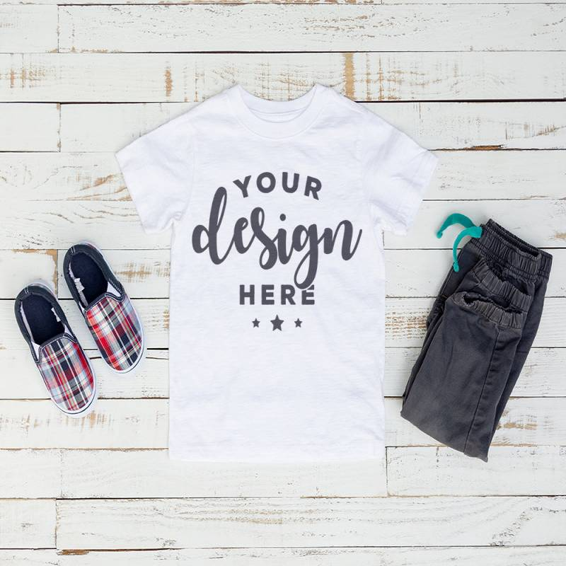 White  Kids Tshirt Mockup On Distressed Wood Background With Plaid Shoes and Pants Hi Resolution Jpeg 300 ppi Image flat lay