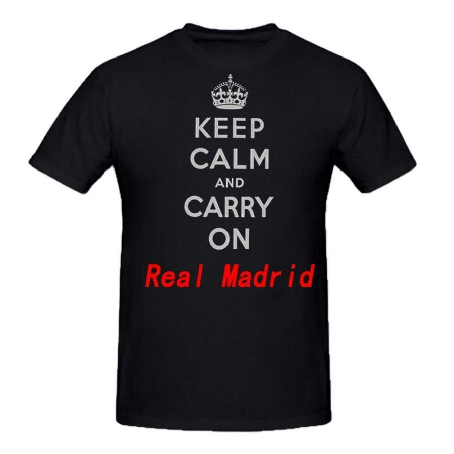 ' Keep Calm and Carry On ' Mens New Real Madrid T-shirt