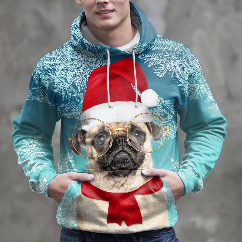 Christmas Pug Awesome H16913 - All Over Print Unisex Hoodie
