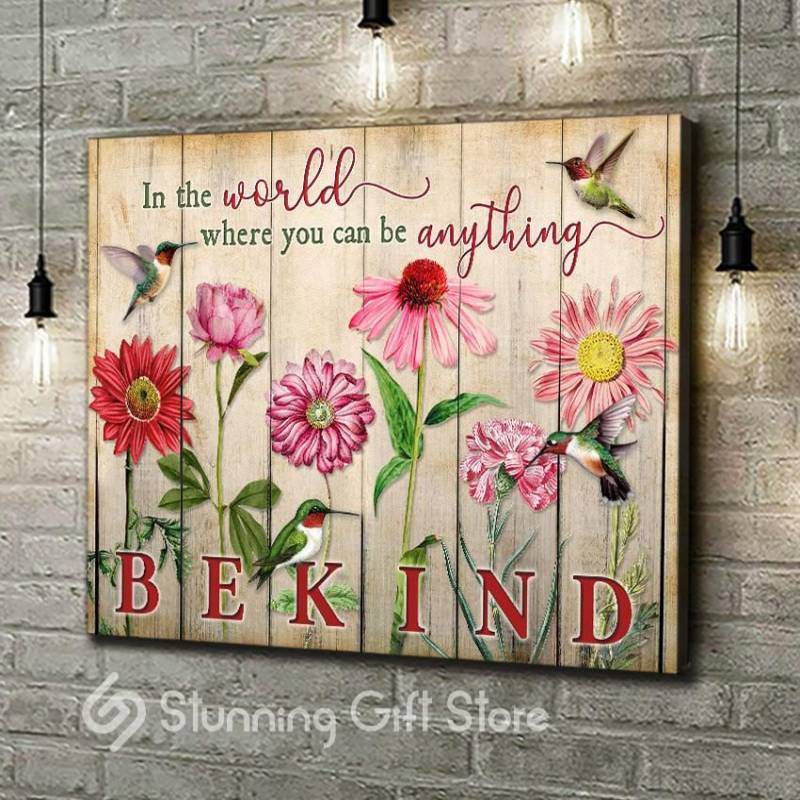 Hummingbird Flower Be kind  poster poster 3332203070