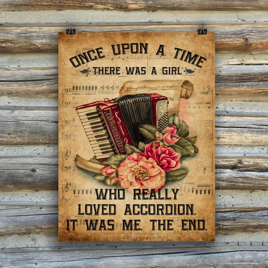 A Girl Loved Accordion Music Instrument Vertical Poster