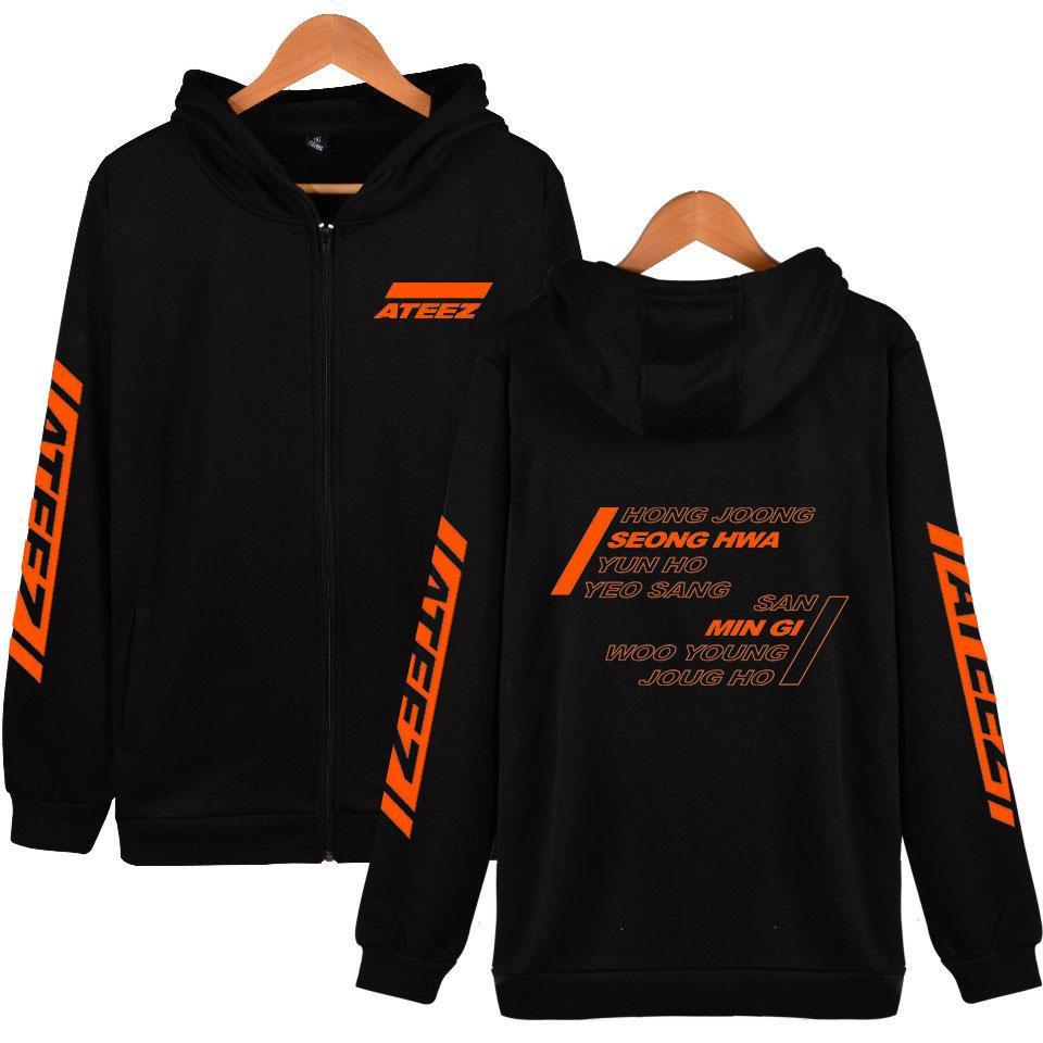 2019 ATEEZ Print Zip Hoodie Adult Long Sleeve Lovers Sweatshirt