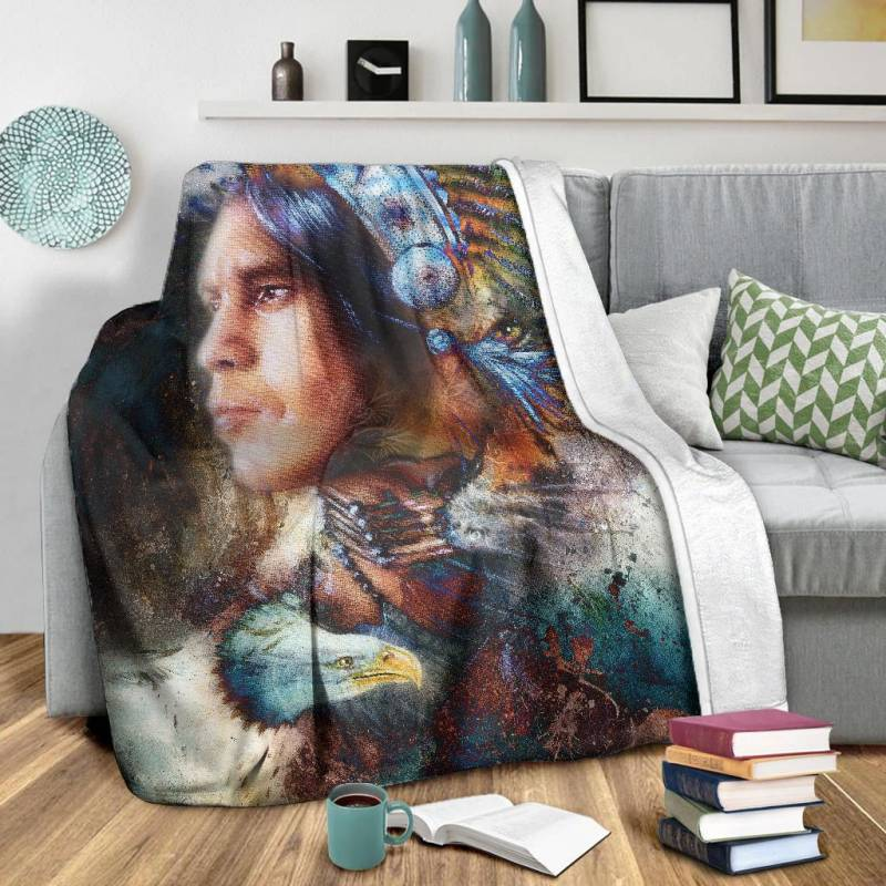 Native American Blanket - Native Warrior - BN01