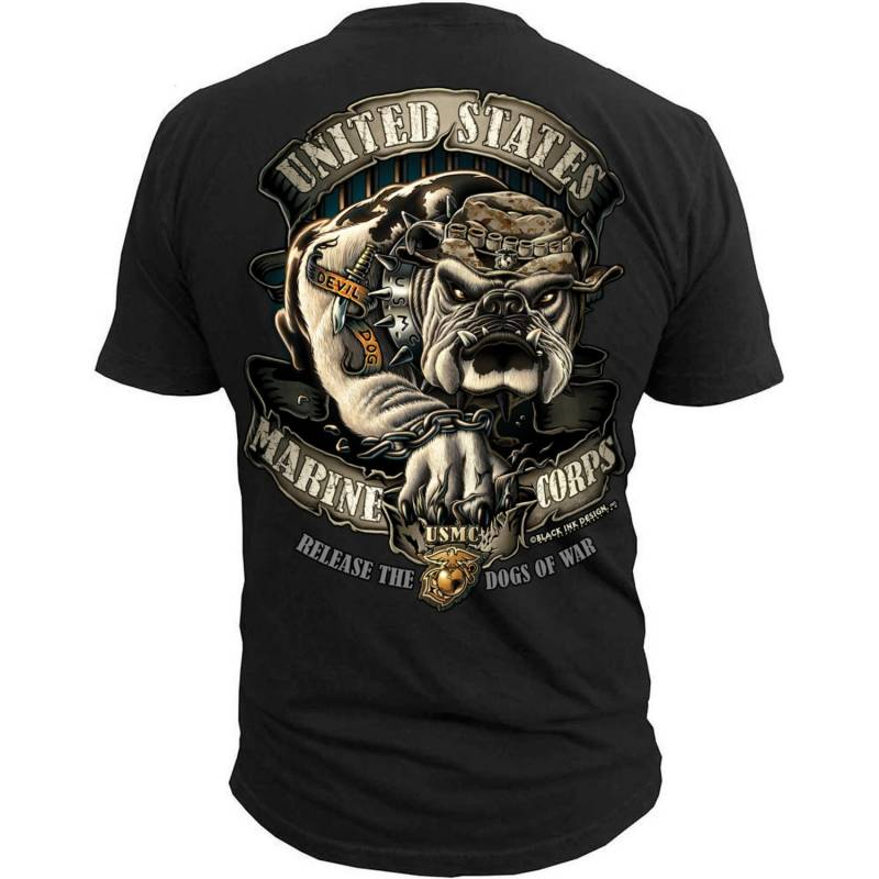 "Black Ink Men's Marines T-Shirt - USMC ""Release the Dogs of War"" (MT560)"