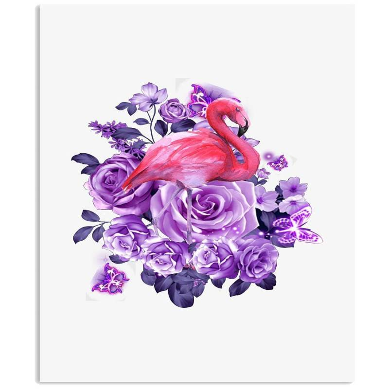 Flamingo Purple Flowers Cute Shirt Vertical Poster