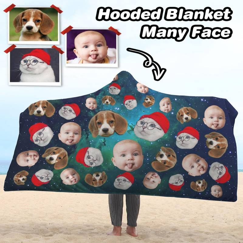 Personalized Many Face Sherpa Hooded Blanket