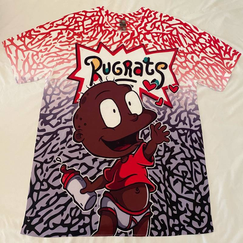 Custom Rugrats Tommy Shirt  Jordan 4 Fire Red/Cement or Red, Black, White Shoes, Jordan 5 Fire Red