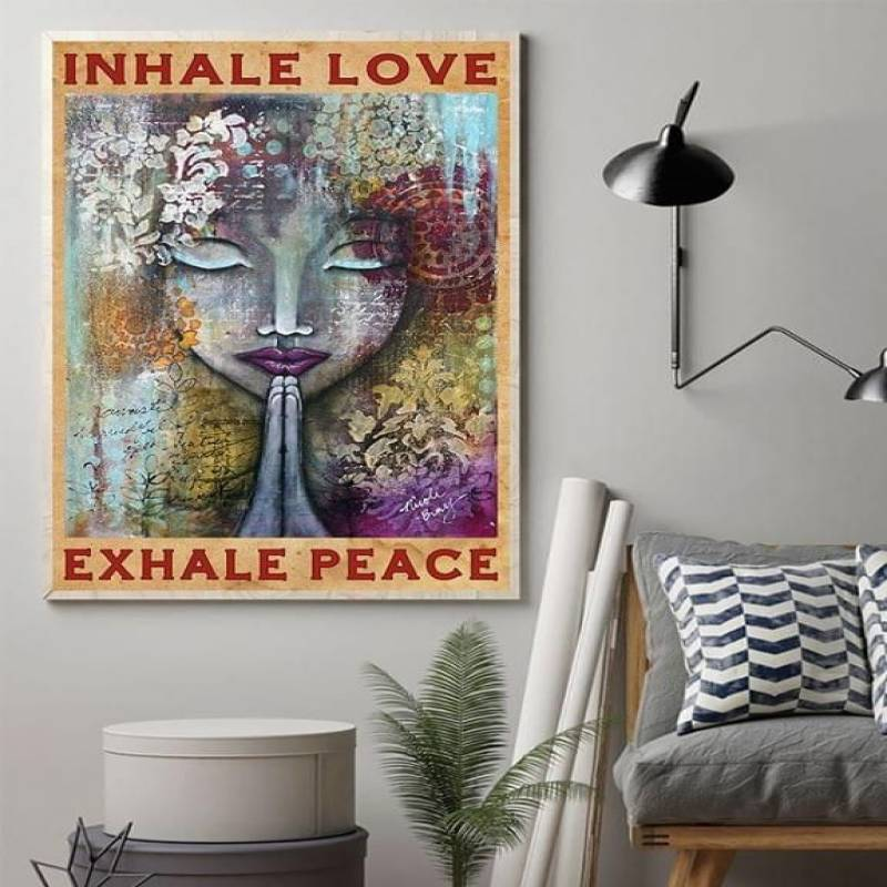 inhale love exhale peace praying girl poster t shirt hoodie sweater  canvas