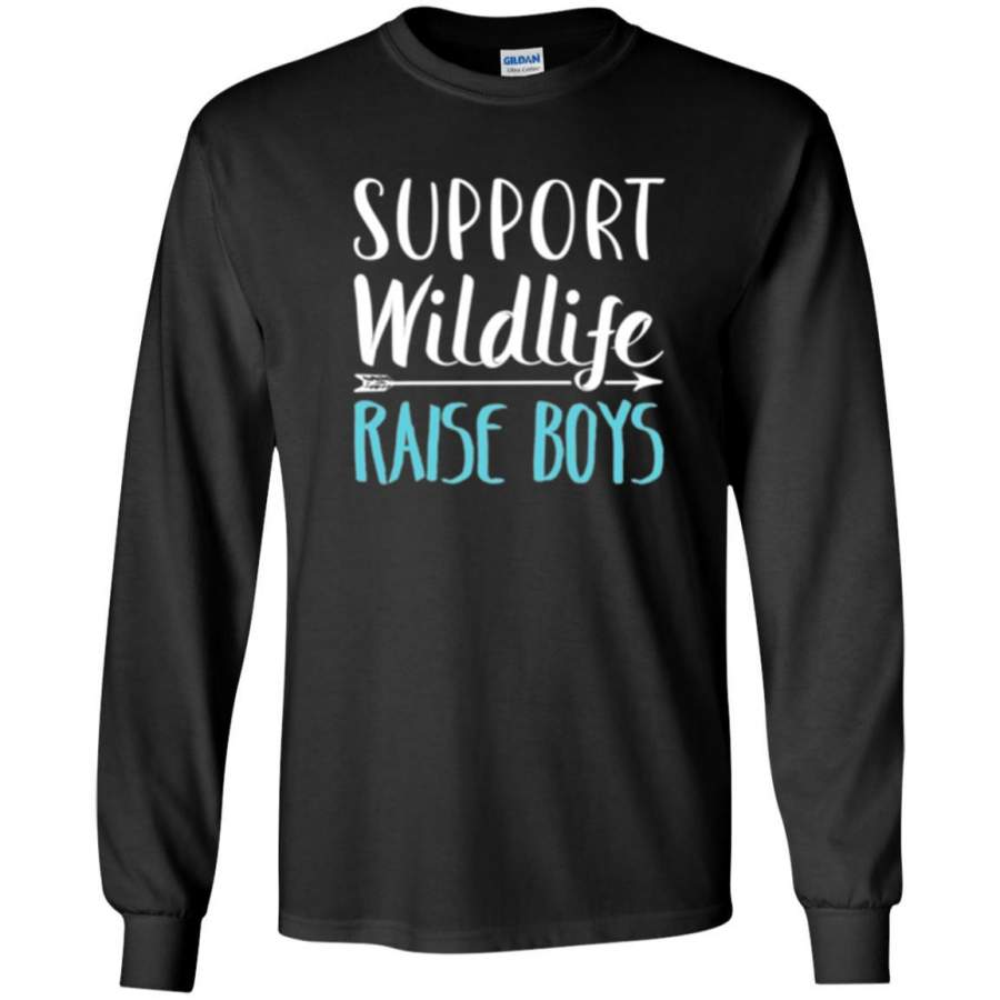 Funny Mother_s Day T-shirt Support Wildlife Raise Boys