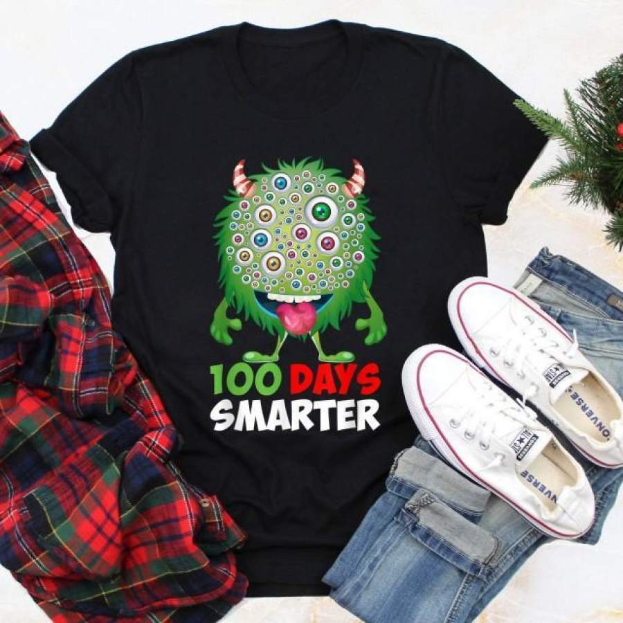 100 days of school - 100 days smarter funny monster t-shirt for kids for teachers - GST