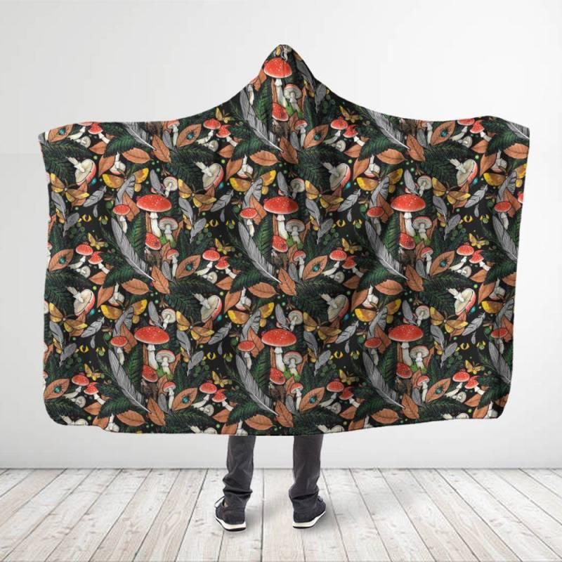 Animal & Forest Mushroom Hooded Blanket 3914