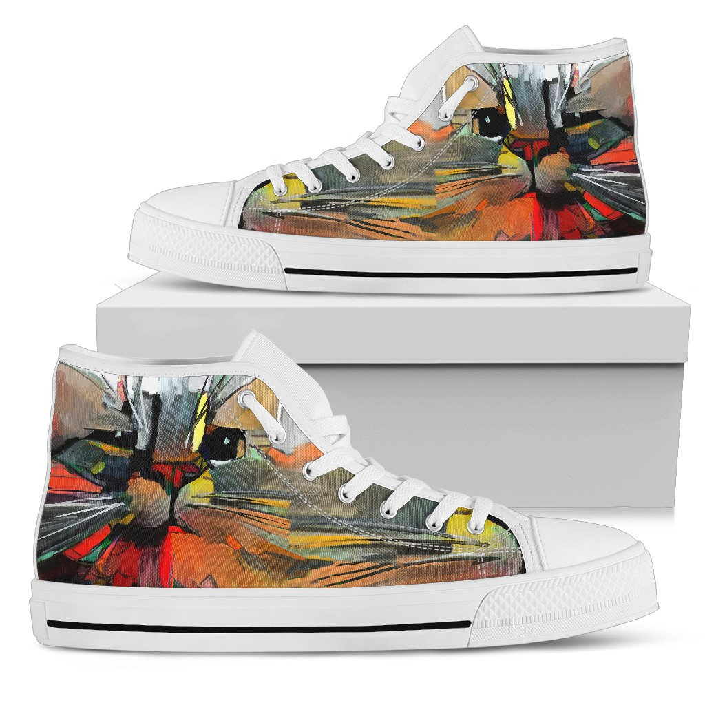 Abstract Cat Women's High Top Shoes (White)