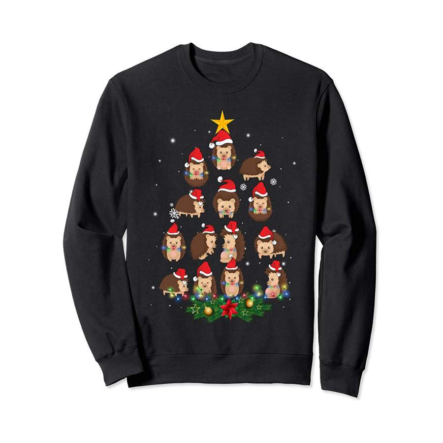 Hedgehog Christmas Tree Santa Hat Light Funny Gift Xmas ...