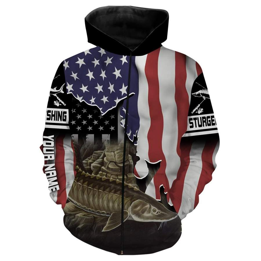 Download Sturgeon Fishing American Flag Patriot Customize name All ...