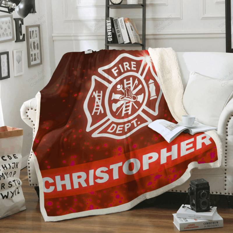 Personalized Thin Red Line Fleece Blanket #2
