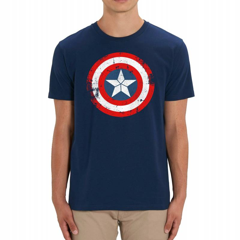 Captain America Distressed Shied Adults Unisex Navy T-Shirt