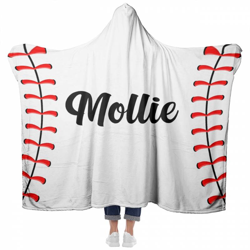 Personalized Baseball Hooded Blanket #1