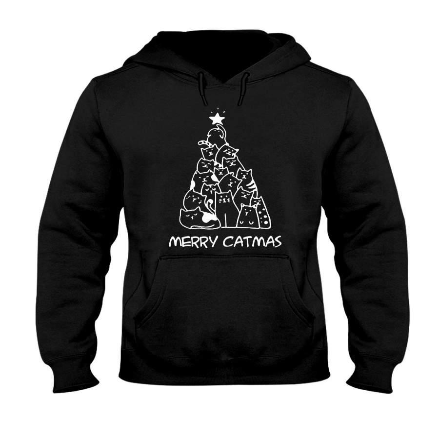 Merry Catmas V2  Unisex Pullover Hoodie Sweatshirt Black Xl