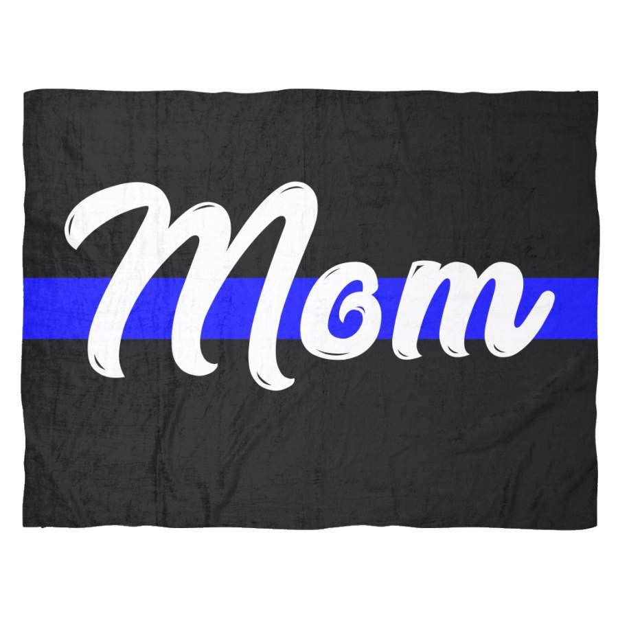 Mom - Thin Blue Line Blanket - Black