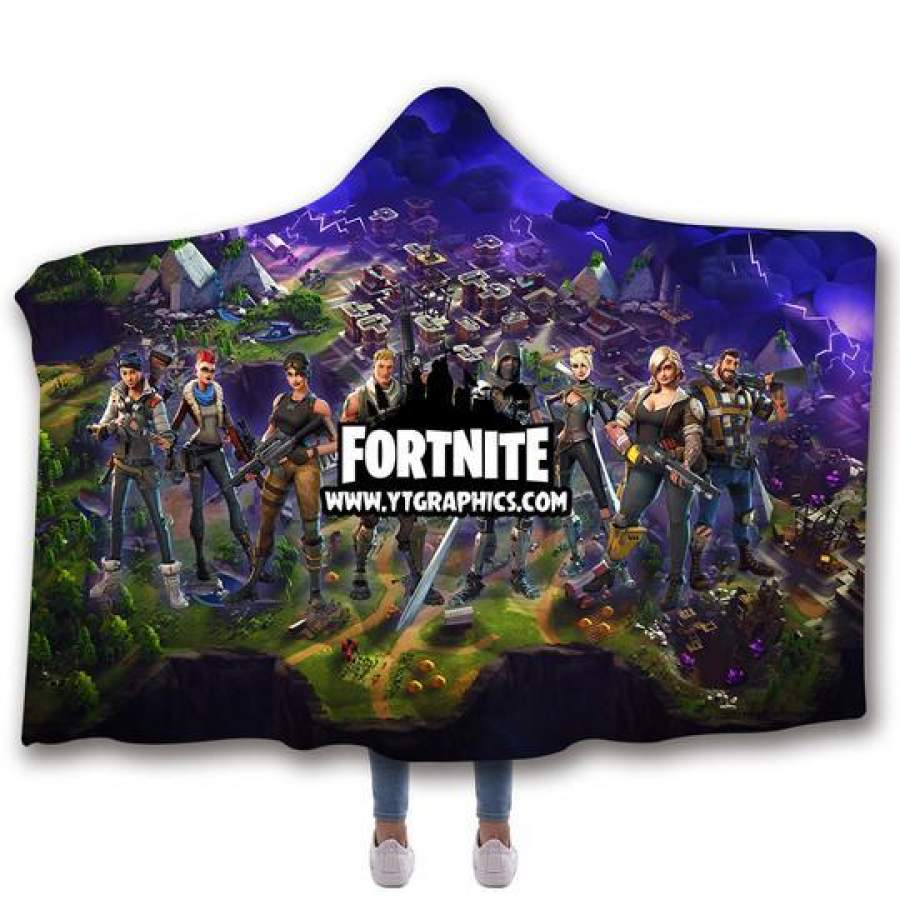 2019 Fortnite Logo Hooded Blanket 3D Print Super Soft Sherpa Fleece Blanket