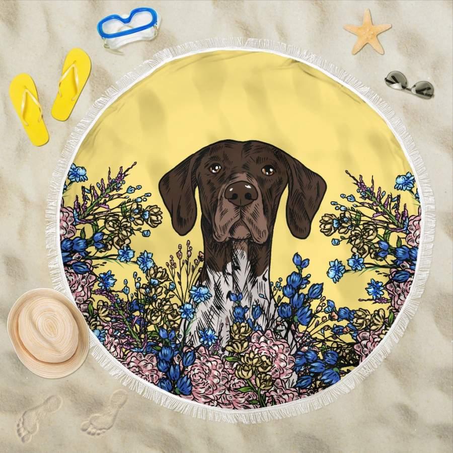 Illustrated German Shorthaired Pointer Beach Blanket