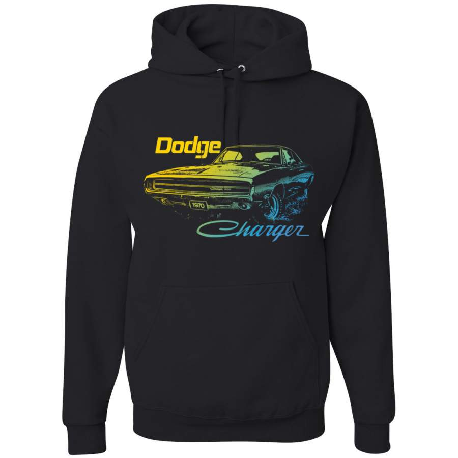 1970 Dodge Charger Classic Neon Retro Silhouette Cars and Trucks Graphic Hoodie Sweatshirt