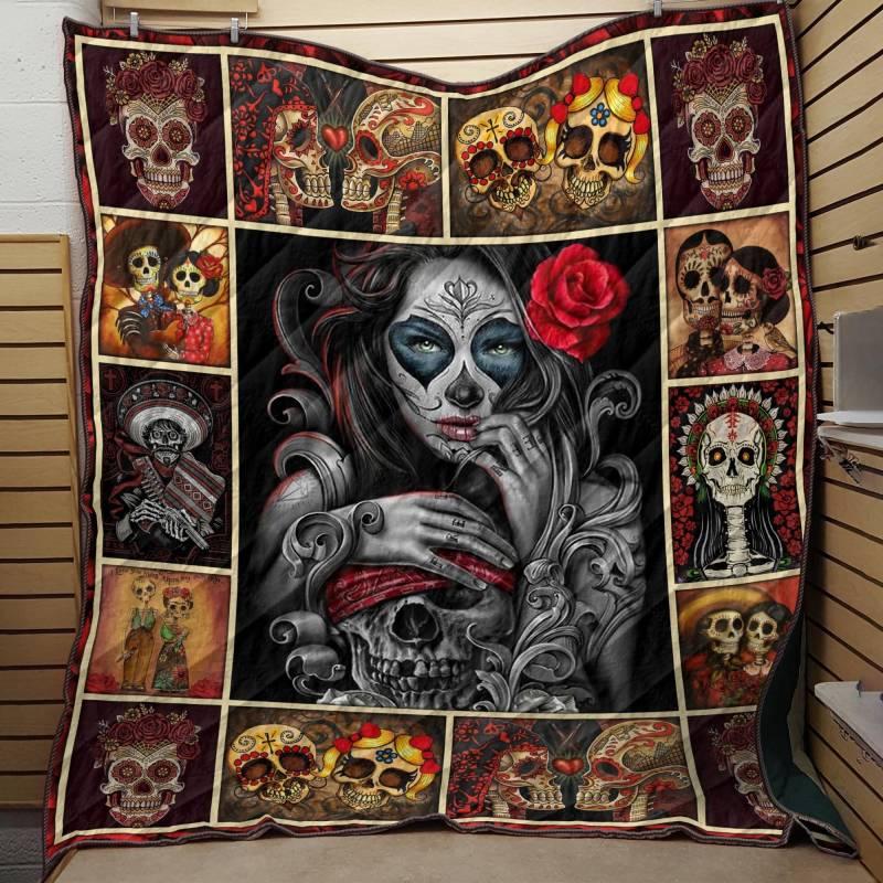 Beautiful Skull Girl Quilt  Blanket 3832203054