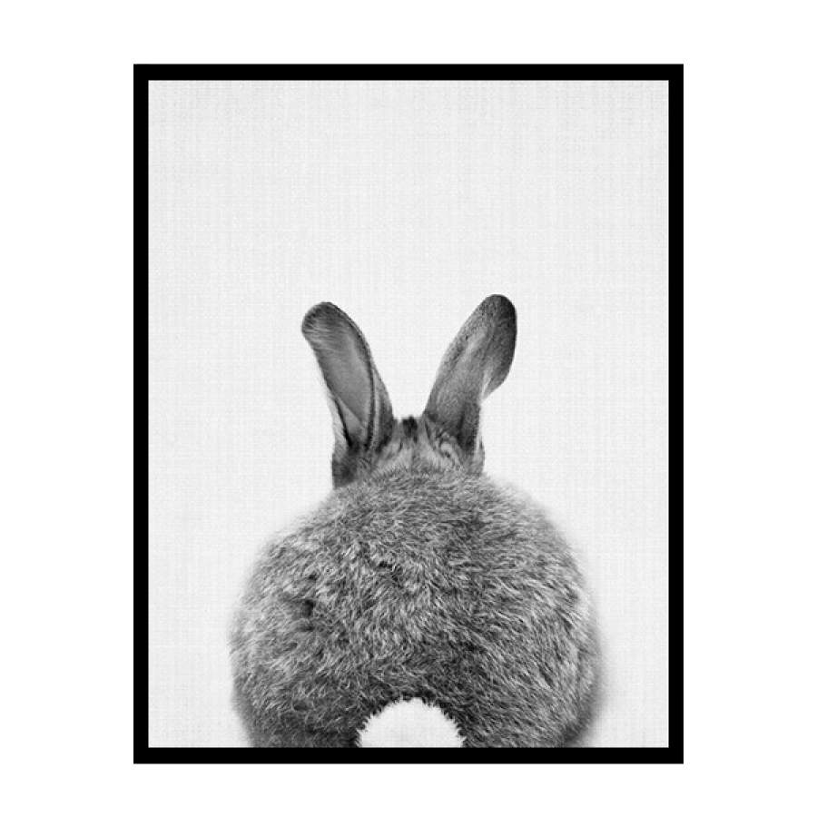 B&W Bunny Behind Poster