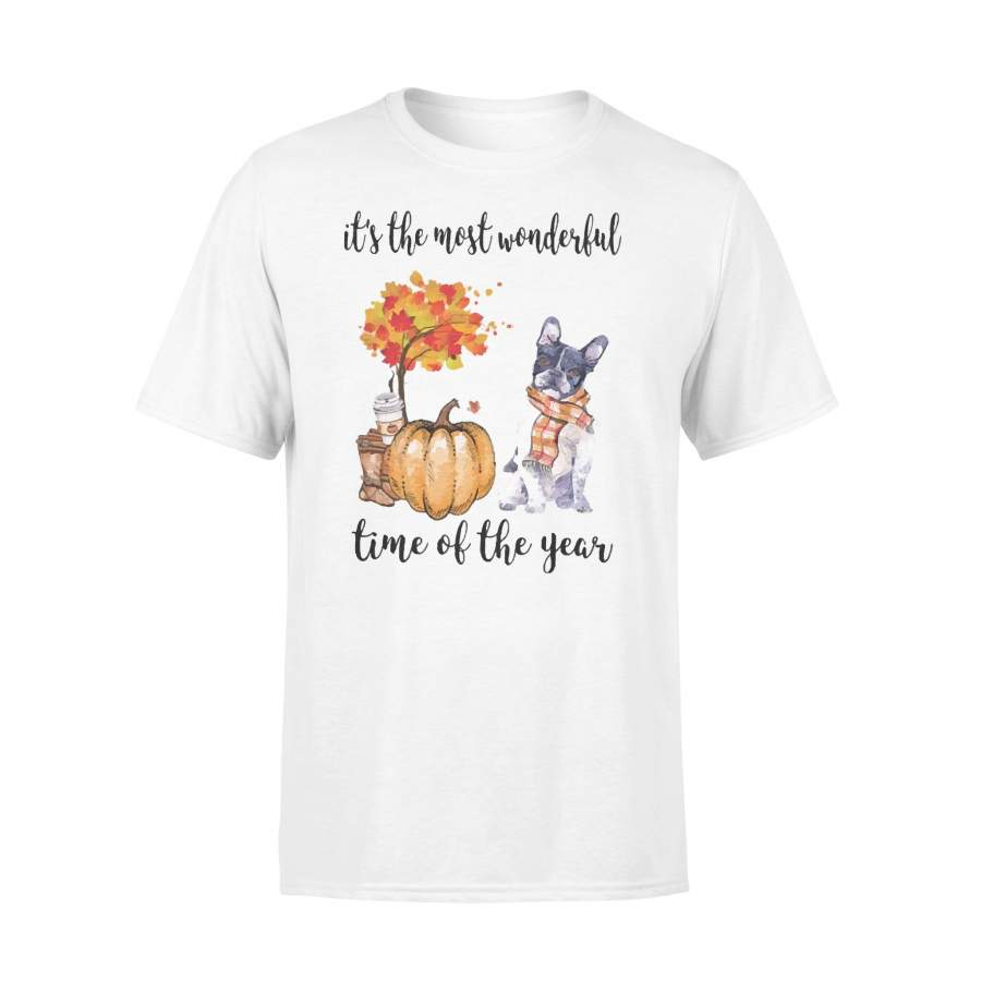 Fall Pumpkin It's The Most Wonderful Time Of The Year Boston Terrier T-Shirt