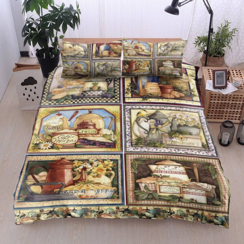 Coffee Mugs Cakes Flower In Country Kitchen HN11100062B Bedding Sets