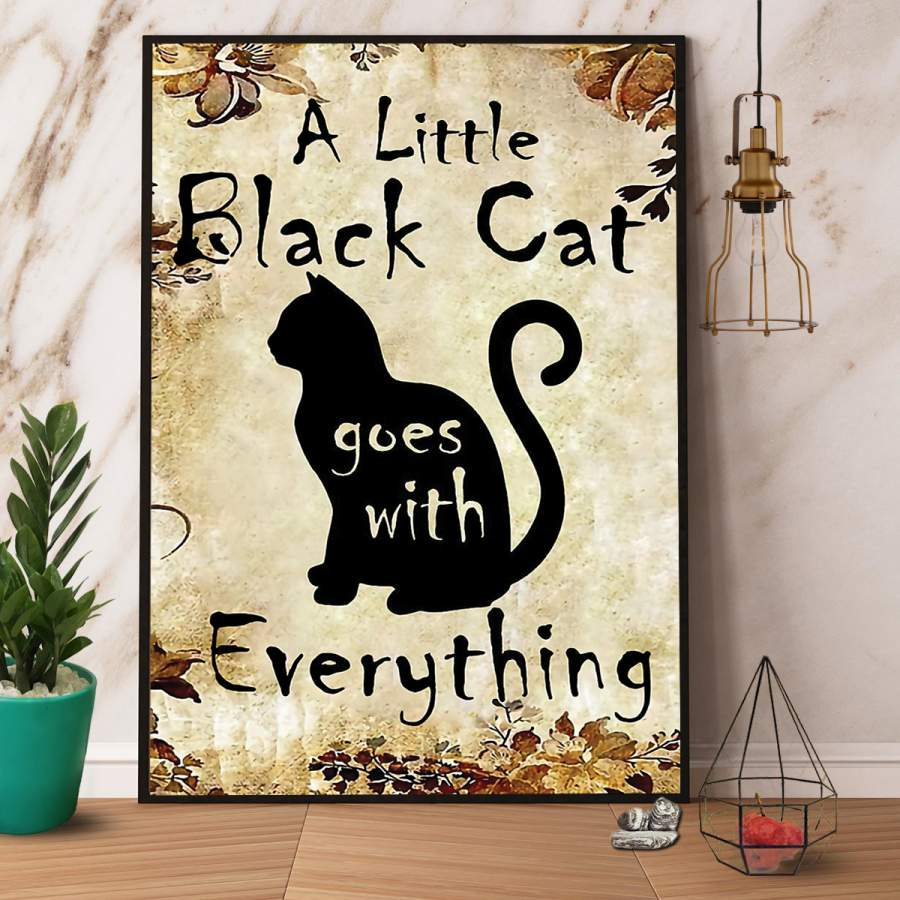 A little black cat goes with everything vintage paper poster no frame/ wrapped canvas wall decor full size