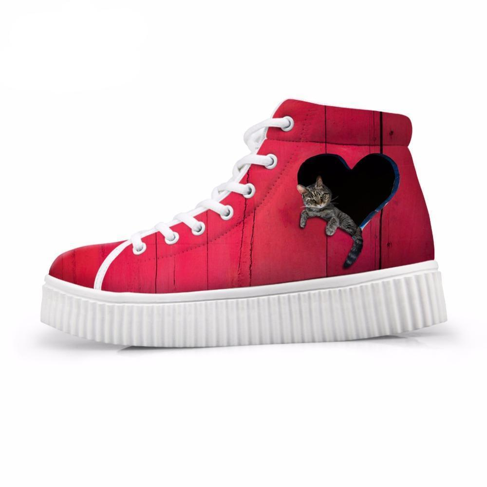 3D Relaxing Cat  In Red Heart-shaped Women High Top Cat Shoes
