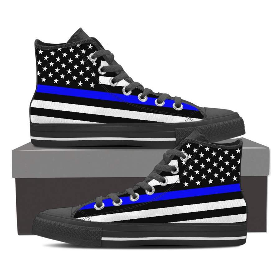 Thin Blue Line American Flag Shoes High Top