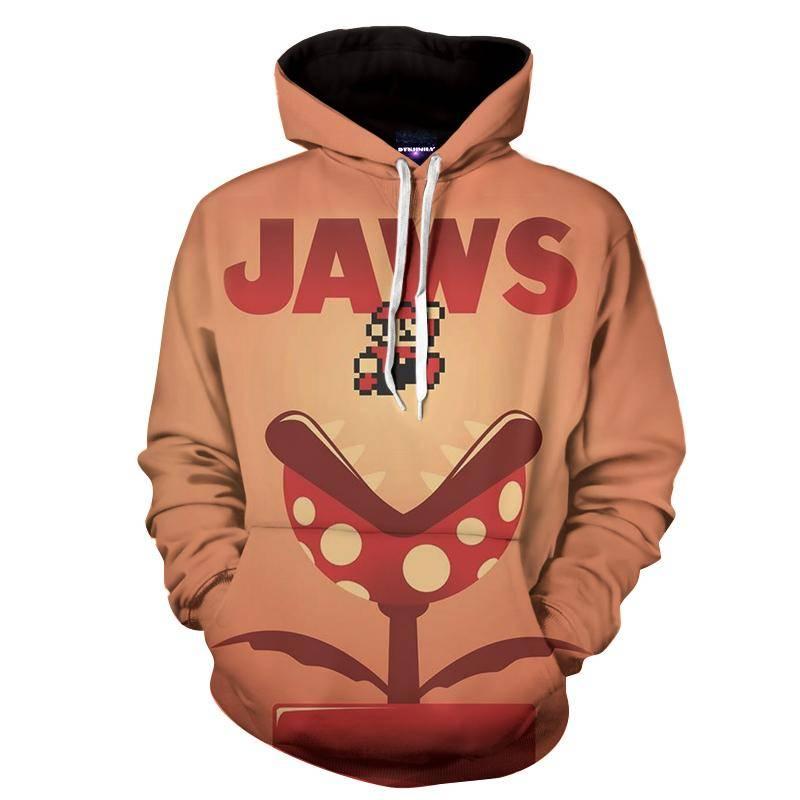 Super Mario Jaws Parody Poster Funny Streetwear Hoodie