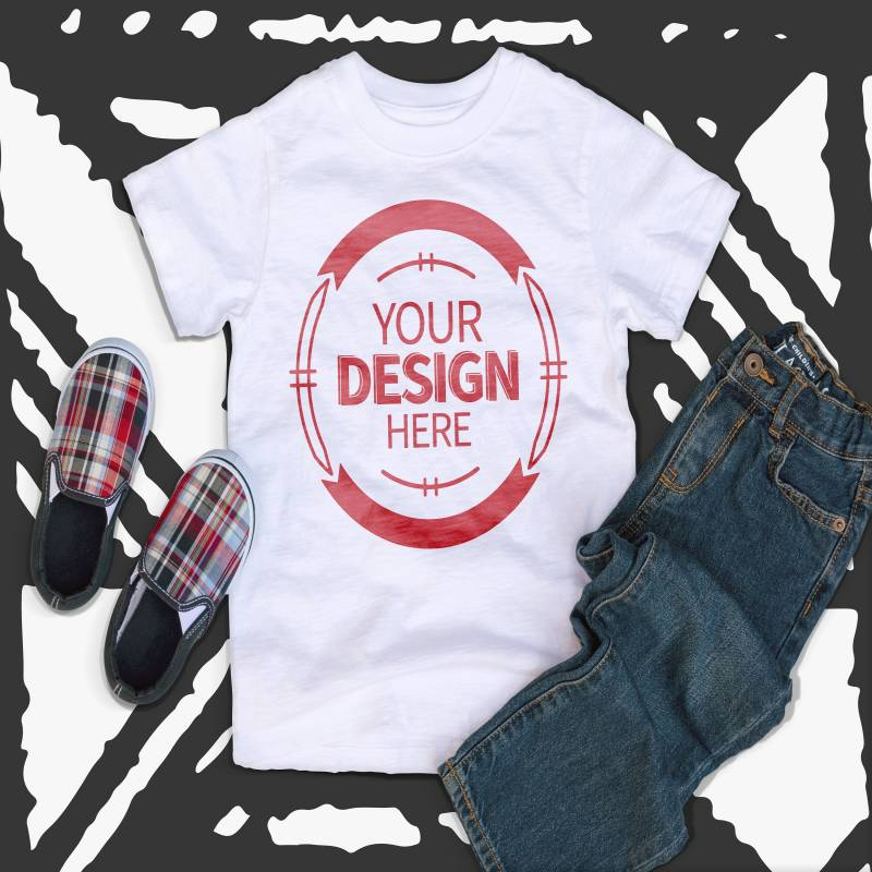White Kids Tshirt Mockup With Shoes and Jeans Hi Resolution 300 ppi Jpeg Image Kids Flat Lay
