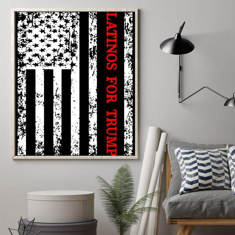 American Flag Latinos For Trump Poster