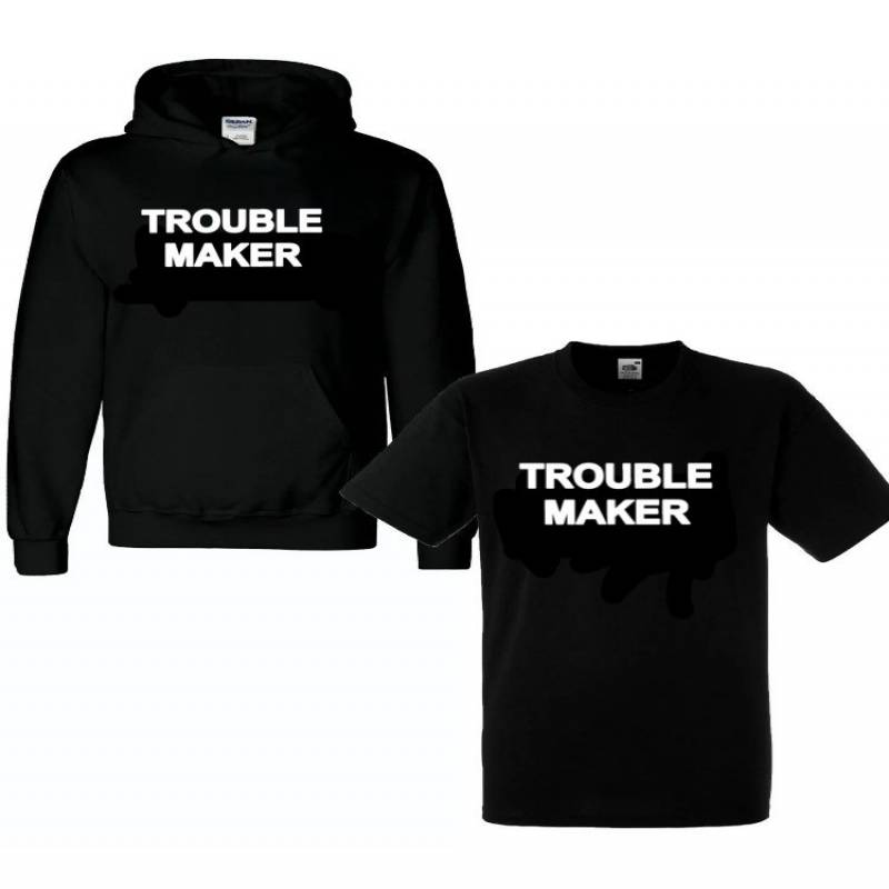 Kids Slogan Hoodie T shirt Trouble Maker, Stylish Gift for boys and girls Funny Meme hoody 5-13yrs Hoody tee Top