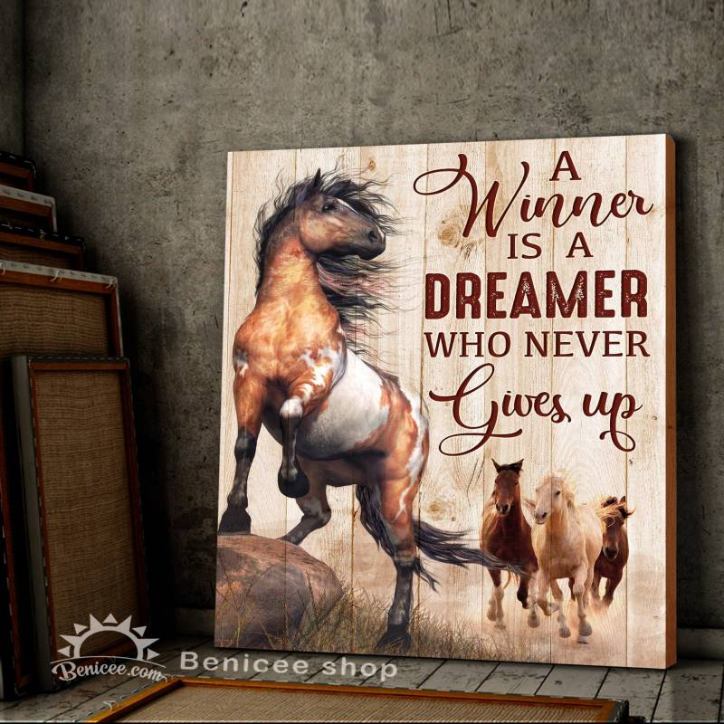 Horse winner never gives up wild horse signs motivation quote poster poster 3932203060