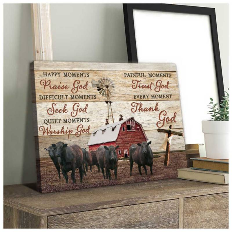 Angus Cows Thank God Poster Canvas 5332203067