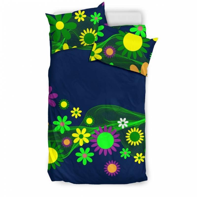 Flower Power Hippie, Retro Vintage Duvet and Pillow Cover Bedding Set – Muggalicious