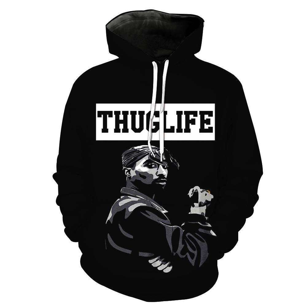2Pac Tupac Thug Life Hoodies - Character Pullover Black Hoodie
