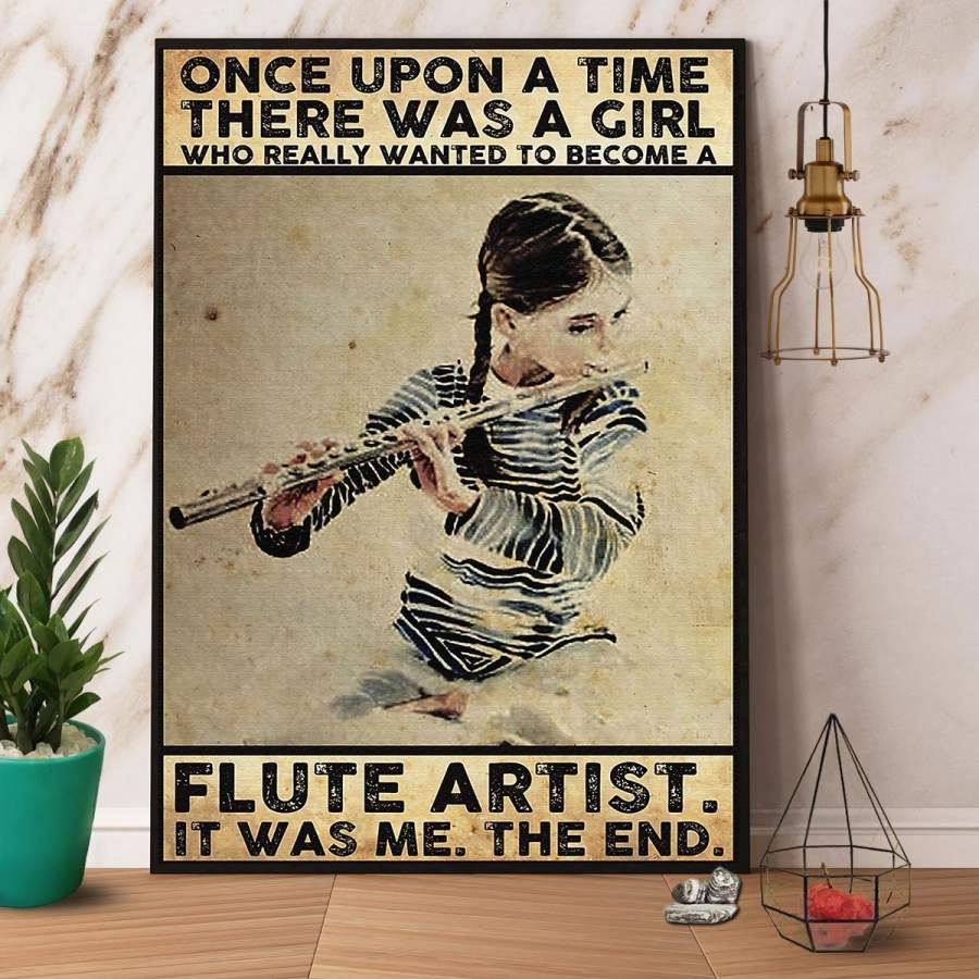 A Girl Who Really Wanted To Become A Flute Artist Paper Poster No Frame/ Wrapped Canvas Wall Decor Full Size